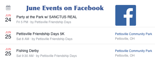 Facebook Events at Park