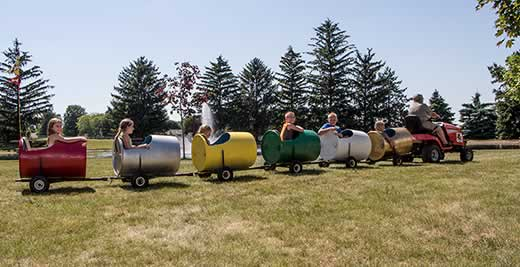 Barrel Train Rides around the park